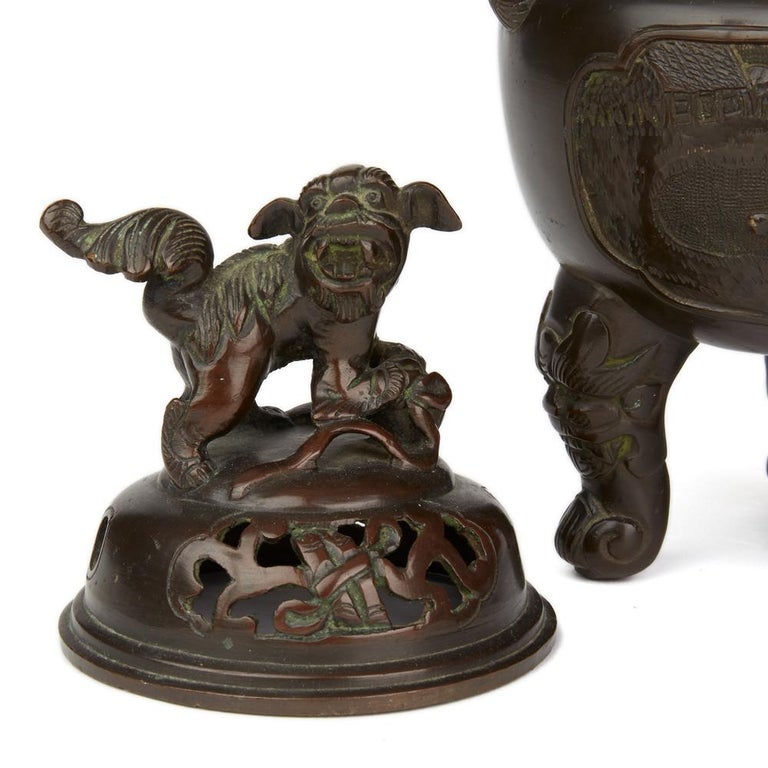 Antique Chinese Qing Bronze Censer and Stand, 19th Century For Sale 5