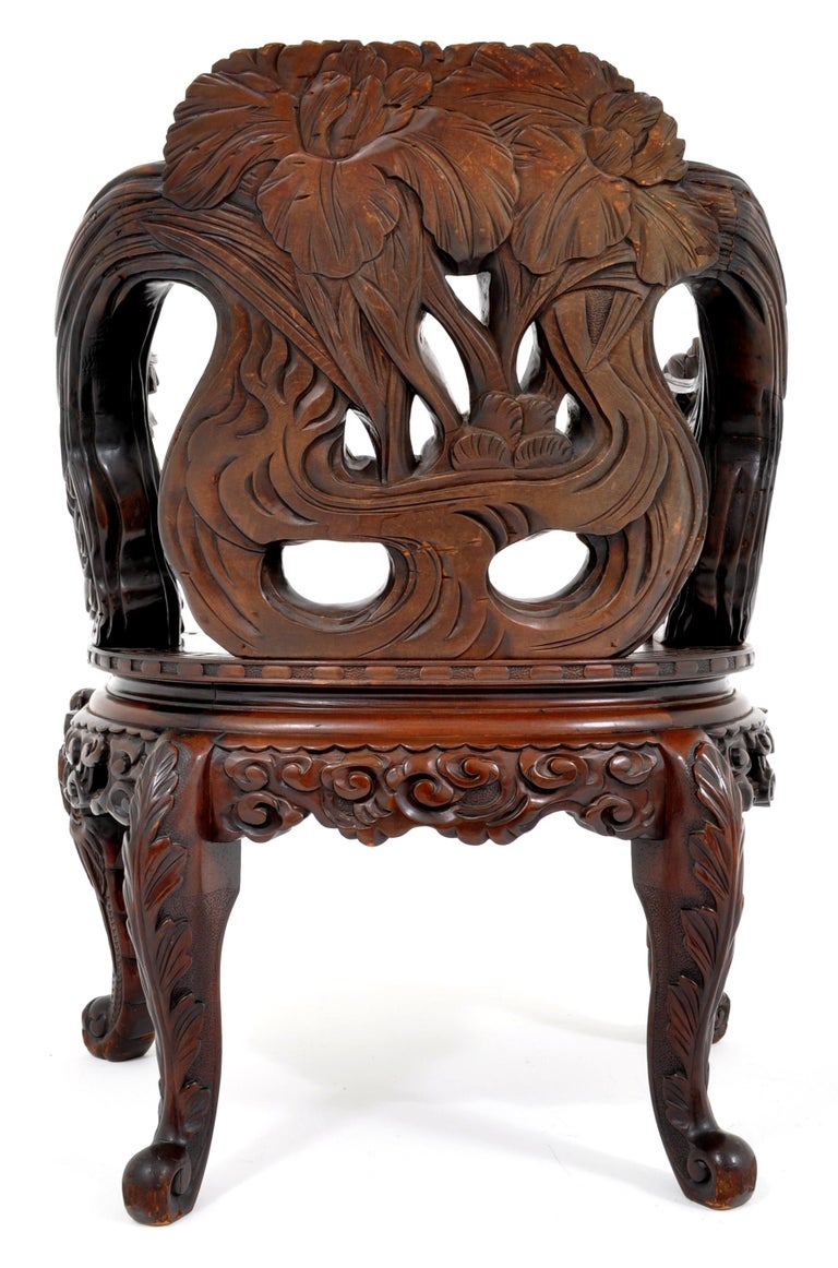 Antique Chinese Qing Dynasty Carved Rosewood Throne Chair, circa 1890 For Sale 1