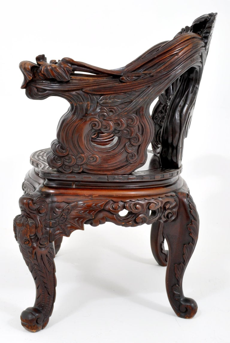 Antique Chinese Qing Dynasty Carved Rosewood Throne Chair, circa 1890 For Sale 3