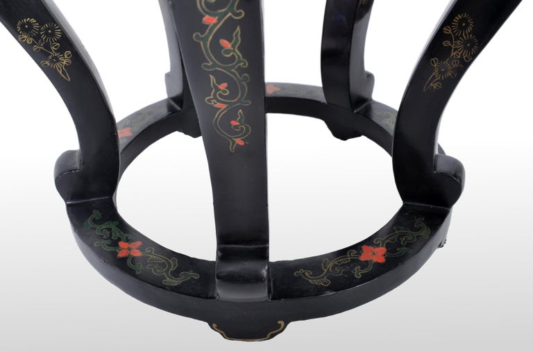 Antique Chinese Qing Dynasty Lacquer & Cloisonné Garden Seat / Stool, circa 1920 For Sale 3