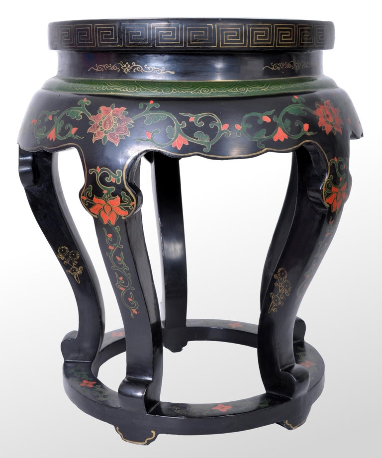Chinese Export Antique Chinese Qing Dynasty Lacquer & Cloisonné Garden Seat / Stool, circa 1920 For Sale