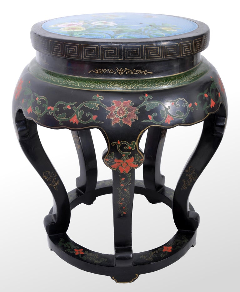 Cloissoné Antique Chinese Qing Dynasty Lacquer & Cloisonné Garden Seat / Stool, circa 1920 For Sale