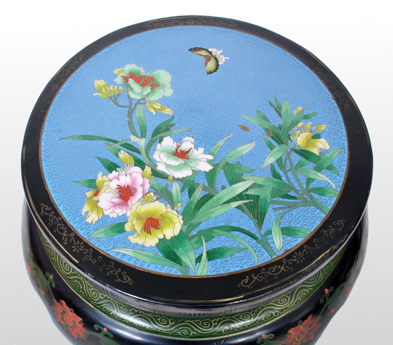Antique Chinese Qing Dynasty Lacquer & Cloisonné Garden Seat / Stool, circa 1920 In Good Condition For Sale In Portland, OR