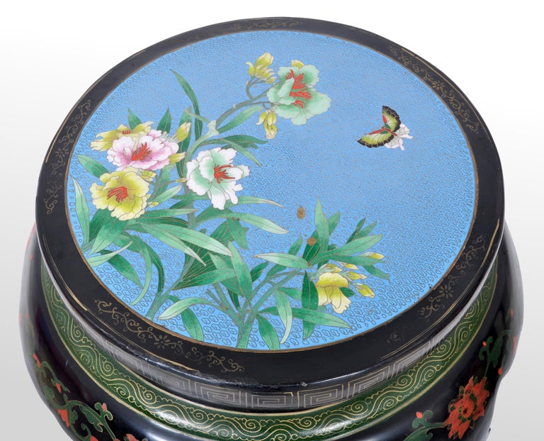 20th Century Antique Chinese Qing Dynasty Lacquer & Cloisonné Garden Seat / Stool, circa 1920 For Sale