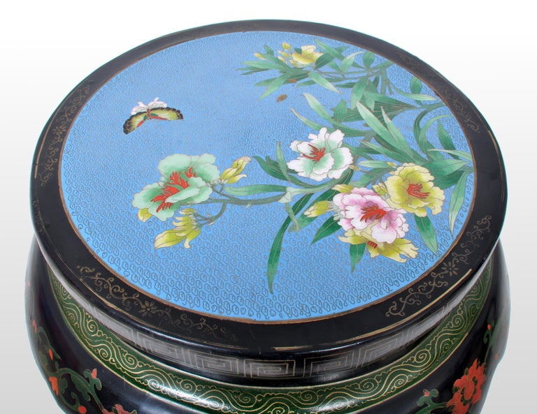 Enamel Antique Chinese Qing Dynasty Lacquer & Cloisonné Garden Seat / Stool, circa 1920 For Sale