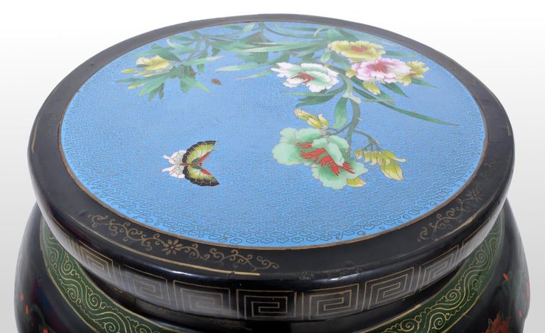 Antique Chinese Qing Dynasty Lacquer & Cloisonné Garden Seat / Stool, circa 1920 For Sale 1