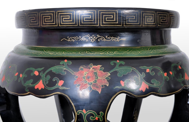 Antique Chinese Qing Dynasty Lacquer & Cloisonné Garden Seat / Stool, circa 1920 For Sale 2