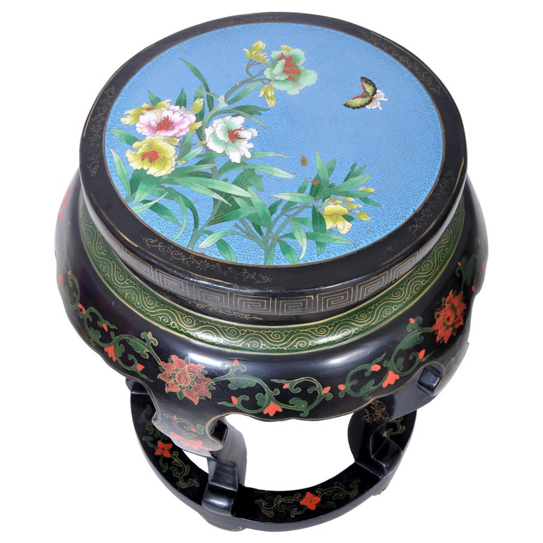 Antique Chinese Qing Dynasty Lacquer & Cloisonné Garden Seat / Stool, circa 1920 For Sale