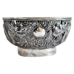Antique Chinese Qing Dynasty Silver Bowl with Dragons and Flower Decoration