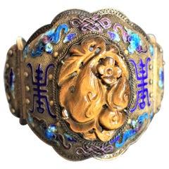Antique Chinese Qing Dynasty Silver & Enamel Cuff Bracelet