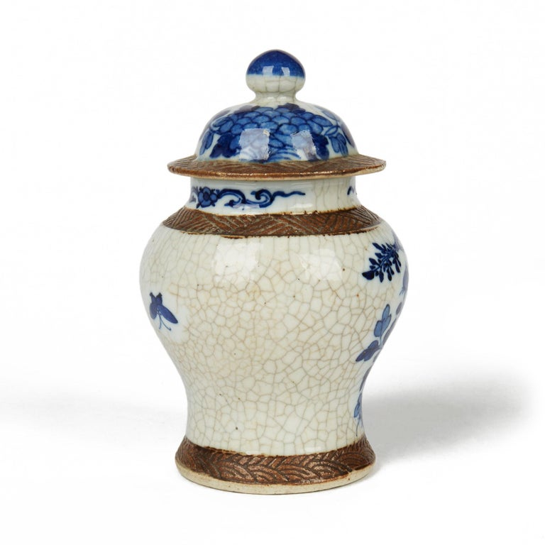 Glazed Antique Chinese Qing Porcelain Blue and White Lidded Ginger Jar, 19th Century For Sale
