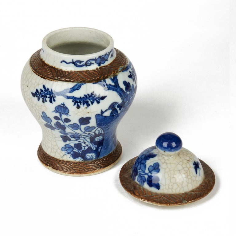 Antique Chinese Qing Porcelain Blue and White Lidded Ginger Jar, 19th Century For Sale 1
