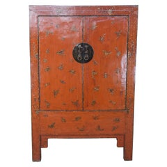 Antique Chinese Qing Red Lacquer Butterfly Wedding Cabinet Armoire Linen Press