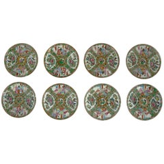 Antique Chinese Qing Rose Medallion Porcelain Cupped Plates Set of Eight