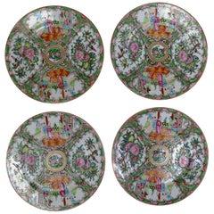 Antique Chinese Qing Rose Medallion Porcelain Plates Set of Four Peeking