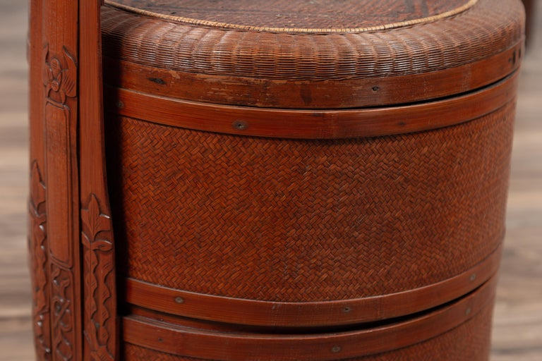 Wood Antique Chinese Rattan Nested Lunch Basket with Carved Handle and Calligraphy For Sale