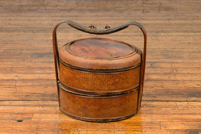 Bamboo Antique Chinese Rattan Tiered Lunch Box with Carved Handle and Calligraphy For Sale