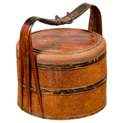 Antique Chinese Rattan Tiered Lunch Box with Carved Handle and Calligraphy