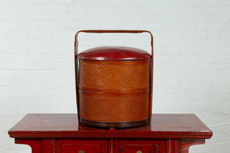Antique Chinese Rattan Tiered Wedding Basket with Carved Handle and Red Top For Sale 6