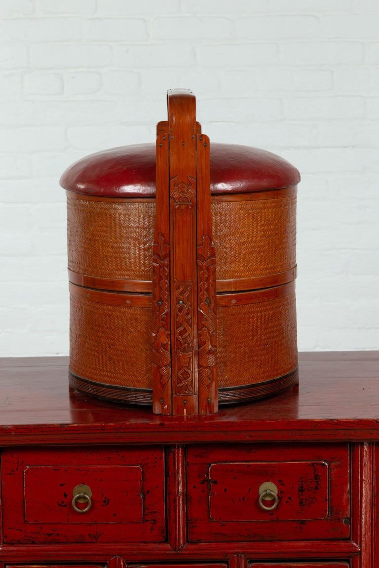 Antique Chinese Rattan Tiered Wedding Basket with Carved Handle and Red Top For Sale 7