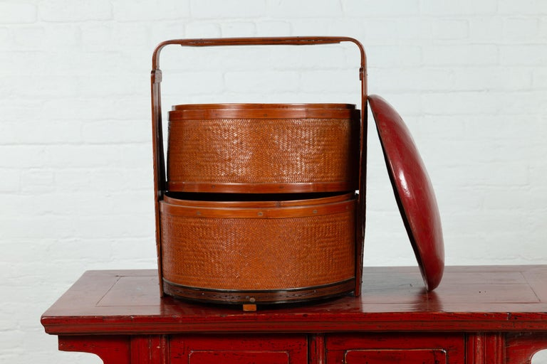 Antique Chinese Rattan Tiered Wedding Basket with Carved Handle and Red Top For Sale 8