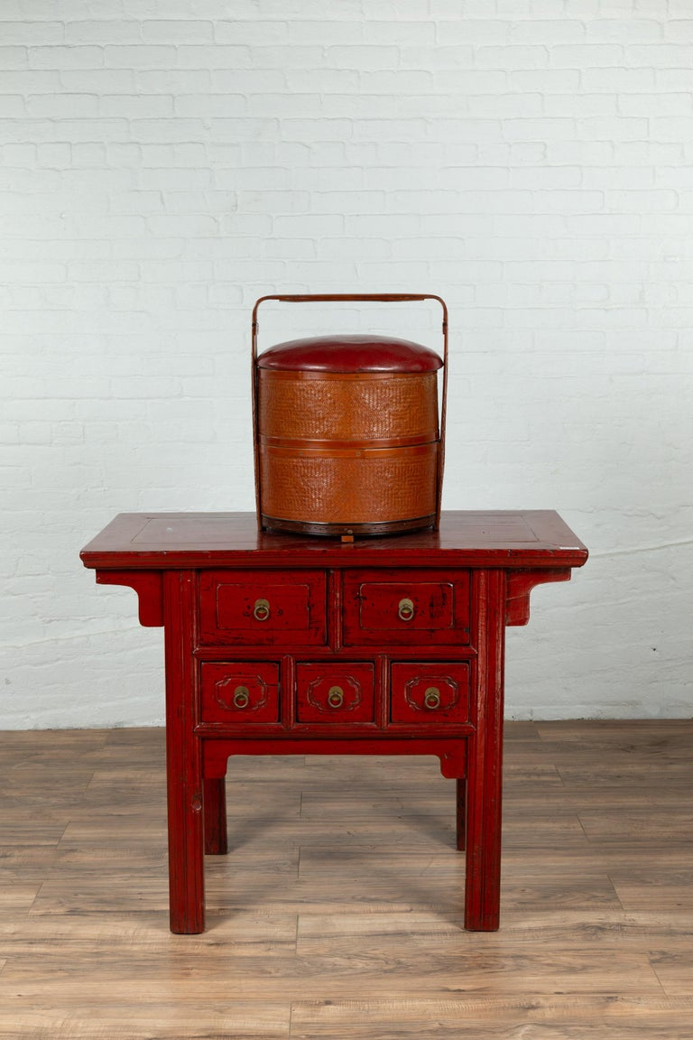 Antique Chinese Rattan Tiered Wedding Basket with Carved Handle and Red Top In Good Condition For Sale In Yonkers, NY