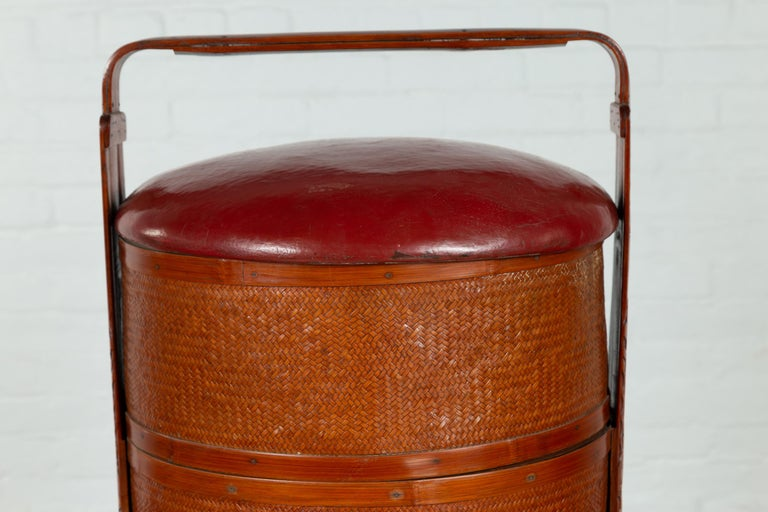 Antique Chinese Rattan Tiered Wedding Basket with Carved Handle and Red Top For Sale 1
