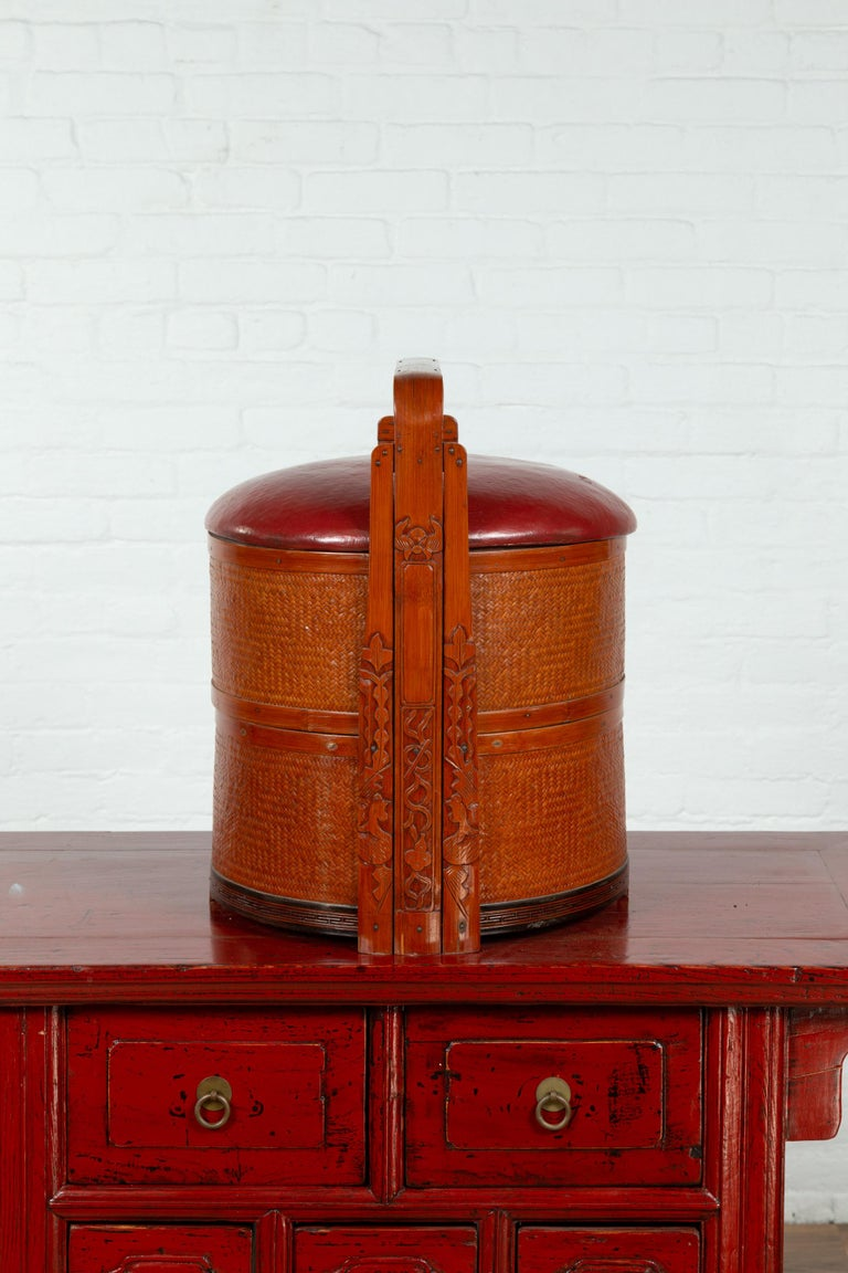 Antique Chinese Rattan Tiered Wedding Basket with Carved Handle and Red Top For Sale 5