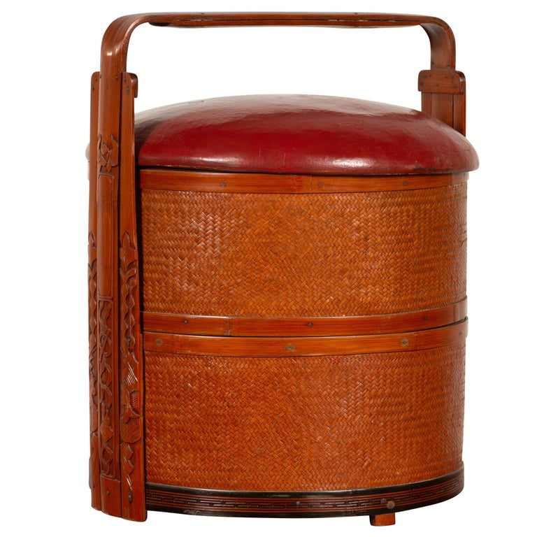 Antique Chinese Rattan Tiered Wedding Basket with Carved Handle and Red Top For Sale