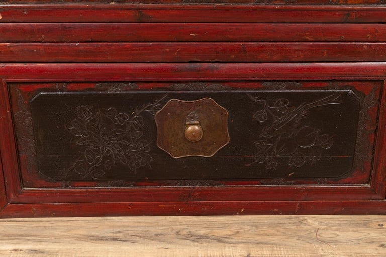 Antique Chinese Red and Black Lacquered Three-Section Chest with Carved Figures For Sale 5