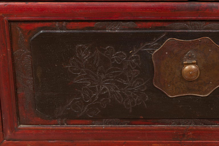 Antique Chinese Red and Black Lacquered Three-Section Chest with Carved Figures For Sale 6