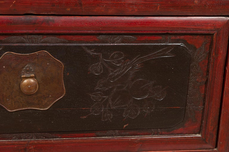 Antique Chinese Red and Black Lacquered Three-Section Chest with Carved Figures For Sale 7