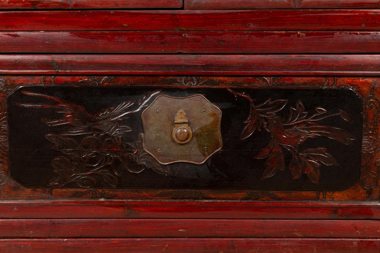 Antique Chinese Red and Black Lacquered Three-Section Chest with Carved Figures For Sale 8