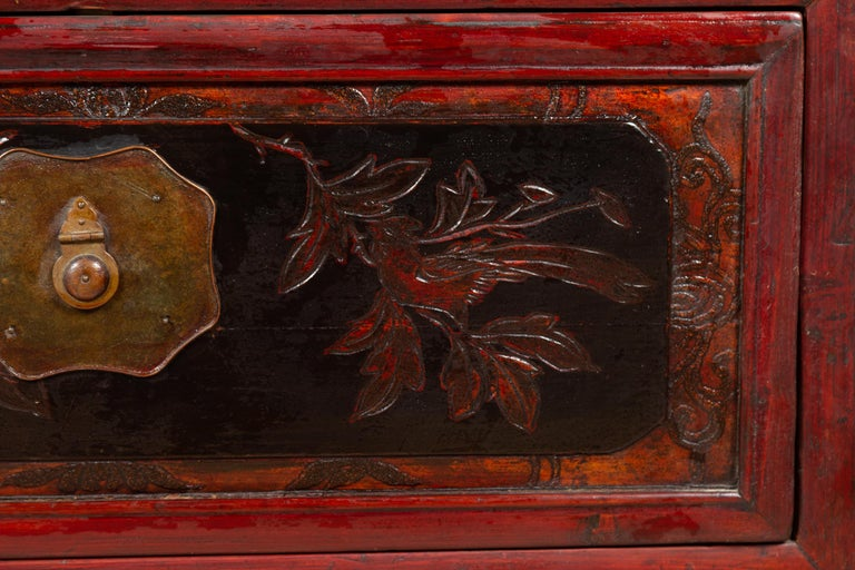 Antique Chinese Red and Black Lacquered Three-Section Chest with Carved Figures For Sale 9