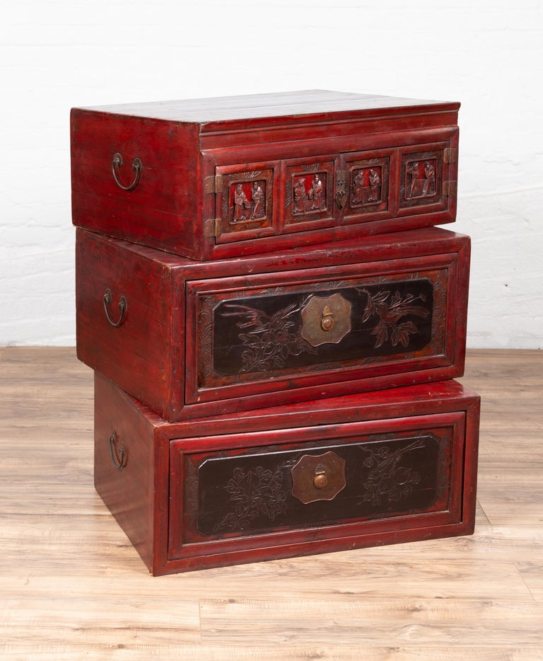 Antique Chinese Red and Black Lacquered Three-Section Chest with Carved Figures For Sale 11