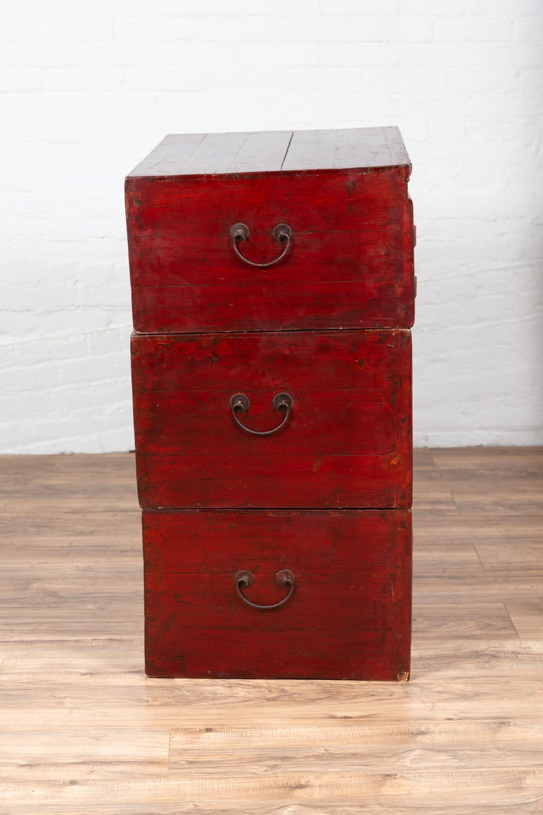 Antique Chinese Red and Black Lacquered Three-Section Chest with Carved Figures For Sale 12
