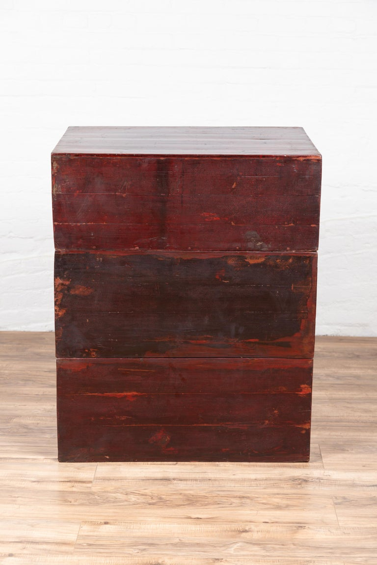 Antique Chinese Red and Black Lacquered Three-Section Chest with Carved Figures For Sale 13