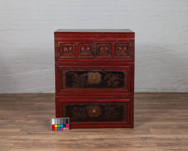 Antique Chinese Red and Black Lacquered Three-Section Chest with Carved Figures For Sale 15