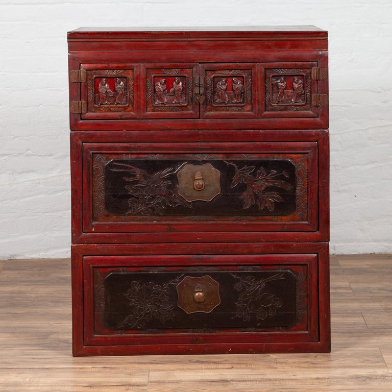 Antique Chinese Red and Black Lacquered Three-Section Chest with Carved Figures In Good Condition For Sale In Yonkers, NY
