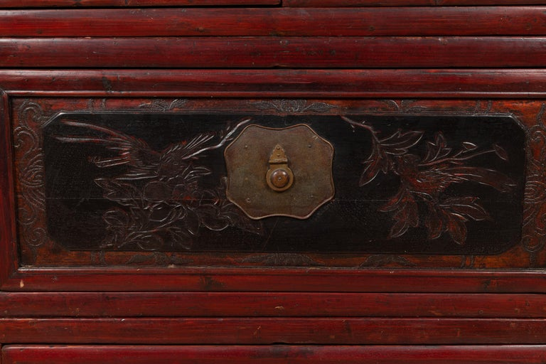 Antique Chinese Red and Black Lacquered Three-Section Chest with Carved Figures For Sale 1