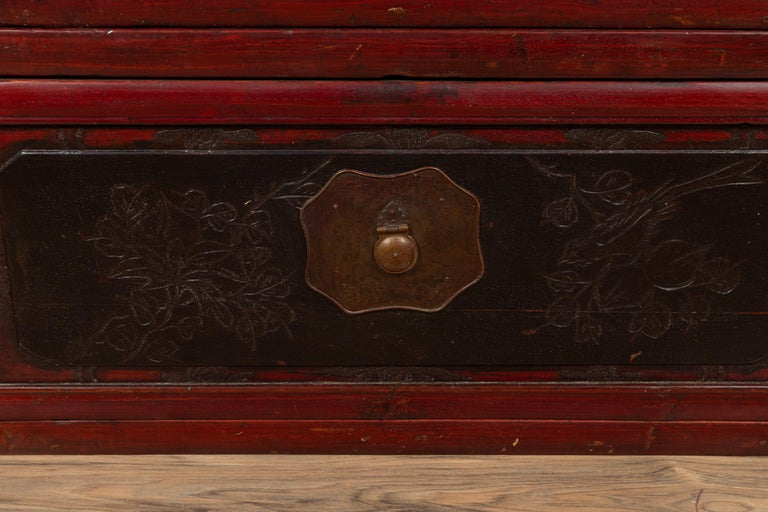 Antique Chinese Red and Black Lacquered Three-Section Chest with Carved Figures For Sale 2