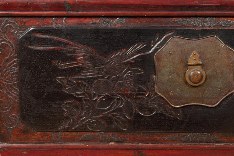 Antique Chinese Red and Black Lacquered Three-Section Chest with Carved Figures For Sale 3