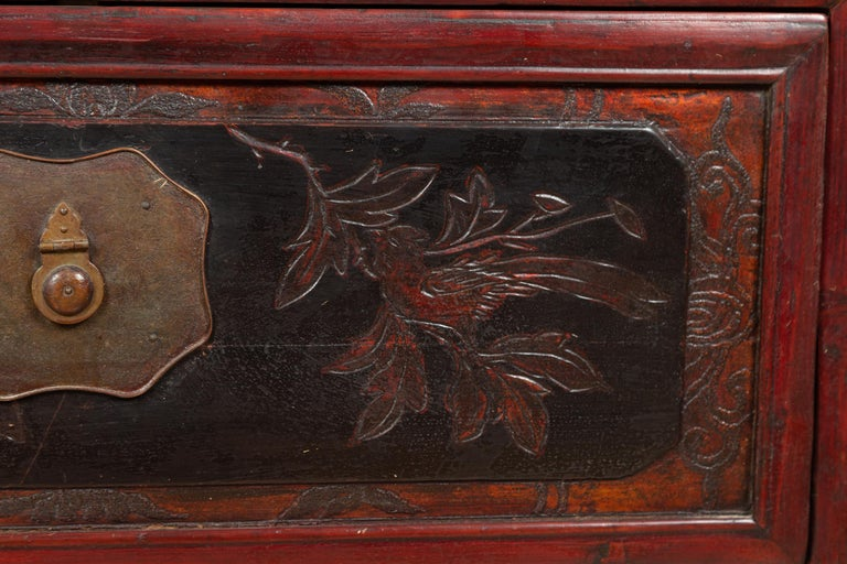Antique Chinese Red and Black Lacquered Three-Section Chest with Carved Figures For Sale 4