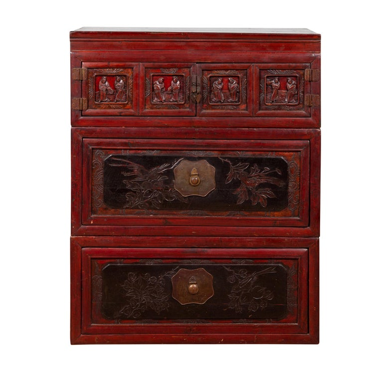 Antique Chinese Red and Black Lacquered Three-Section Chest with Carved Figures For Sale