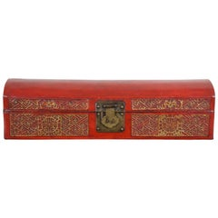 Antique Chinese Red and Gold Leather Domed and Lacquered Scroll Box