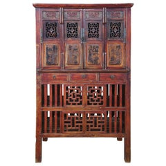Antique Chinese Red Elm Kitchen Cabinet Cupboard Ming Wedding Wardrobe Linens