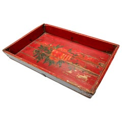 Antique Chinese Red Hand painted Wood Tray