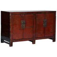 Antique Chinese Red Lacquer Cabinet Sideboard