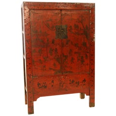 Antique Chinese Red Lacquer Cabinet with Gilt Hand-Painting