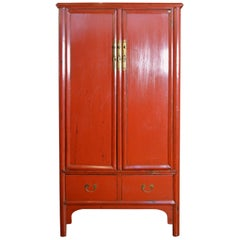Antique Chinese Red Lacquered Armoire with Doors, Drawers and Brass Hardware